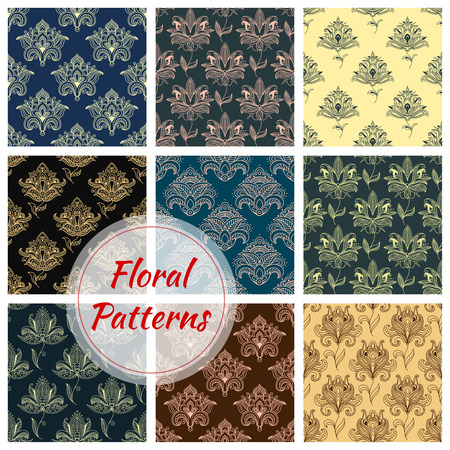 curlicues: Paisley floral seamless patterns set with dainty flowers, decorated by ethnic indian ornament with swirls and curlicues. Fabric print, interior or wallpaper design Illustration