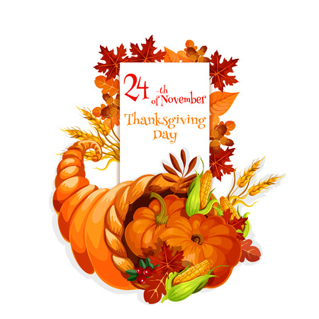 cornucopia: Thanksgiving Day cornucopia design for celebration greeting and invitation card, banner for thanksgiving traditional family dinner. Cornucopia harvest abundance background
