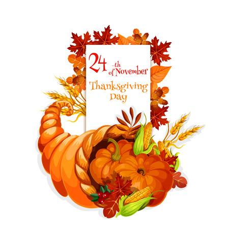 abundance: Thanksgiving Day cornucopia design for celebration greeting and invitation card, banner for thanksgiving traditional family dinner. Cornucopia harvest abundance background