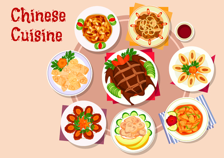 Chinese cuisine meat dishes icon with peking duck, fried wonton, egg roll stuffed pork, sweet and sour pork, ginger chicken, beef coin patty, fried liver, chicken in melon