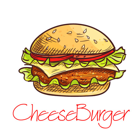 Fast food burger sketch. Takeaway cheeseburger with grilled beef, swiss cheese, tomato vegetable on wheat bun with fresh lettuce. Fast food cafe sandwich menu design