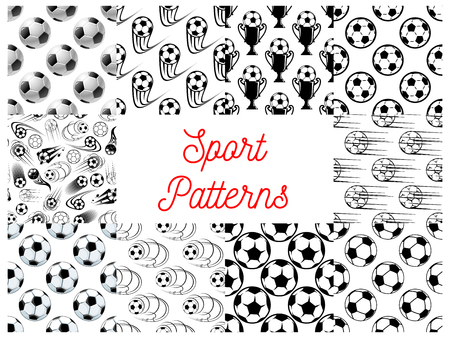 soccer balls: Sport seamless patterns with set of black and white football or soccer balls, champion trophy and winner cup. Sporting items, football championship themes design