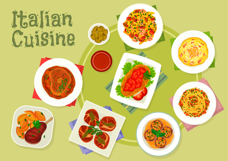 chops: Italian cuisine meat dishes icon with pasta carbonara with ham, shrimp pasta, spaghetti bolognese, florentine steak, chicken milanese, beef shank, beef chops with mushroom and ham wrap