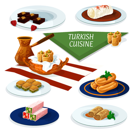 delight: Turkish and ottoman cuisine desserts with coffee cartoon icon of nut and honey nougat, pistachio baklava, chocolate cake with walnut, fried cake with syrup, feta rolls, chicken pudding
