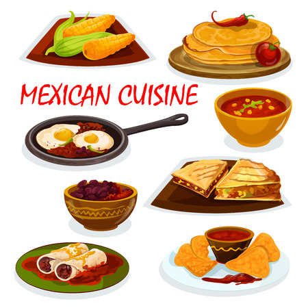 boiled eggs: Mexican cuisine burrito, tortillas and nacho icon served with tomato sauce salsa, tortilla beef sandwiches with vegetables, boiled corn cob, chili soup, spicy eggs rancheros, bean stew Illustration