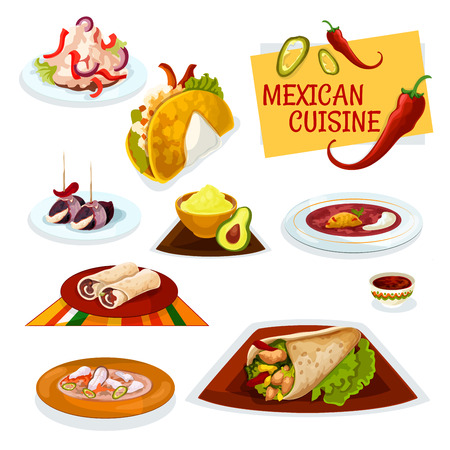 Mexican cuisine cartoon icon with taco, burrito and beef tortilla roll, bacon tapas, avocado guacamole and hot tomato salsa sauces, spicy chilly bean soup, chicken salad and fish soup