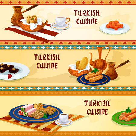 deep fried: Turkish cuisine dessert menu banners with natural coffee served with pistachio baklava, pastry with cheese, nut and honey nougat, deep fried cake soaked in syrup, chocolate mosaic cake, carrot balls
