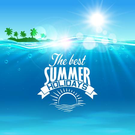 Urlop, wakacji i podróży tło z tropikalnej wyspie z palmami na ocean i znaczek z wstążką banner i wschód słońca na pierwszym planie Ilustracje wektorowe