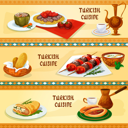 turkish kebab: Turkish cuisine restaurant banners set with meat skewers shish kebab, flatbread with iskander kebab and sauce, coffee, stuffed pepper, meat pie pide, phyllo pastry with cheese, rice mint soup