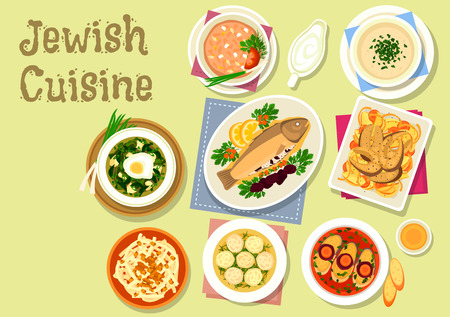 kosher: Jewish cuisine dishes icon with gefilte fish, stuffed prune trout, dumpling chicken soup, lentil chowder, vegetable fish stew, cold sorrel soup, radish salad with honey and nut, chicken liver pate
