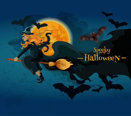 Halloween greeting card with cartoon witch character. Old witch flying on broom with bats in night sky with full moon. Vector halloween party decoration poster design Illustration