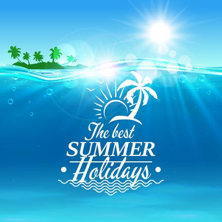 gaviota: Cartel del vector del día de fiesta de verano. Océano, isla tropical de la palma, sol brillante, ondas de agua, gaviota. Placard para el anuncio de viajes, agencia, volante, tarjeta de felicitación hotel resort