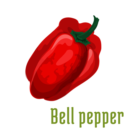 organic peppers sign: Bell pepper plant icon. Isolated leafy vegetable green element. Vegetarian pepper product sign for sticker, grocery shop, farm store