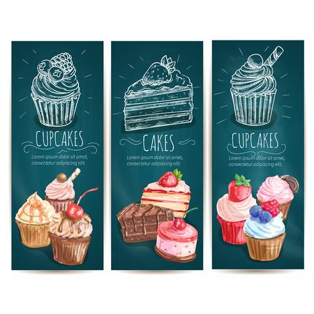 Magdalenas, tortas banners verticales. Vector tiza iconos de dibujo de confitería dulces de panadería, pastelería postre, mollete, galletas de pastelería, cafetería, pastelería folleto letrero, menú