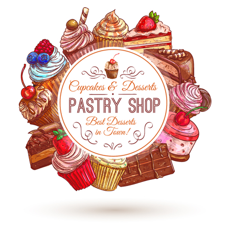 souffle: Pastry shop emblem. Patisserie sweets banner. Vector icons of cupcakes, cakes, confectionery, dessert, muffin, biscuit for signboard, tag sticker label