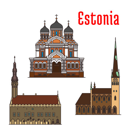Estonia famous historic architecture. Vector detailed icons of Alexander Nevsky Cathedral, Tallinn Town Hall, Saint Olaf church. Landmarks for souvenir decoration elements Illustration