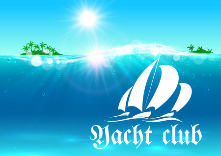 yachts: Yacht club placard. Summer vacation banner. Ocean with yacht symbol, tropical palm island, shining sun, water waves. Background for travel agency advertisement