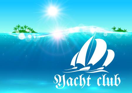 Yate cartel club. banner de vacaciones de verano. Océano con el símbolo de yates, palmeras isla tropical, el sol brillante, las ondas de agua. Antecedentes de la agencia de viajes advertisement