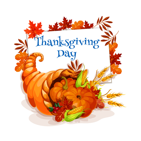 Thanksgiving day cornucopia greeting card vector design template thanksgiving day cornucopia greeting card vector design template for thanksgiving invitation and greeting cards stock m4hsunfo