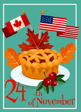 caes: Diseño de tarjeta de felicitación del día de acción de gracias. Elementos del vector de banderas de Canadá y América, dulce pastel de queso de calabaza en placa, hojas de arce y roble, texto Vectores