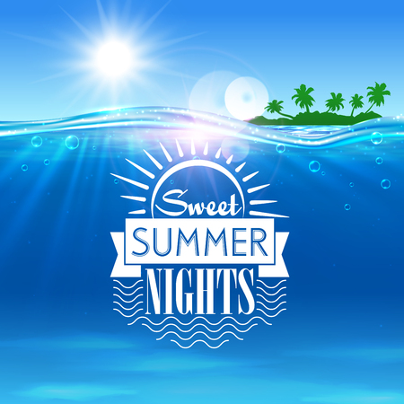 nights: Tropical ocean island. Sweet summer nights placard. Ocean with tropical palm island, shining sun, water waves. Background for travel agency advertisement, spa resort banner, tourism background