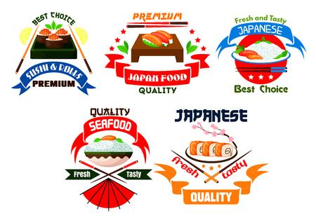 wasabi: Japanese food restaurant emblems. Sushi rolls, salmon sashimi, steamed rice, red caviar, seafood, wasabi, bamboo chopsticks, soy sauce. Oriental cuisine label for menu card, signboard