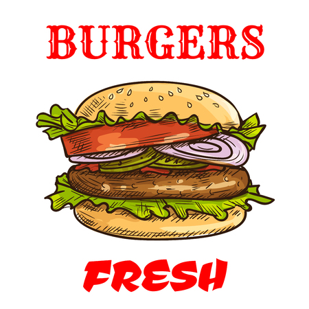 eatery: Burger fast food sketch icon. Vector fresh hamburger with sesame bun, fresh lettuce, tomatoes and onion slices, meat cutlet. Cheeseburger element for restaurant signboard, eatery menu, fast food label