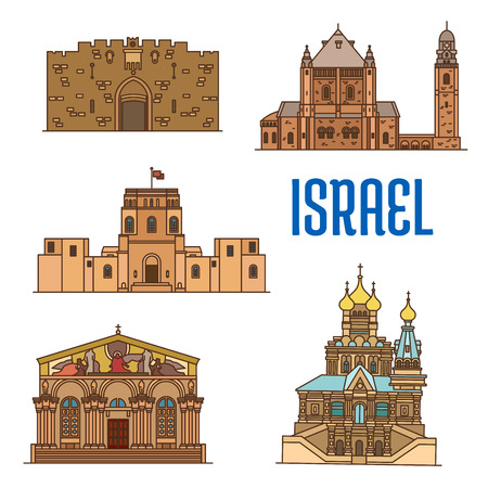 promised: Israel vector detailed architecture icons of Lions Gate, Dormition Abbey, Rockefeller Museum, Church of All Nations, Church of Mary Magdalene. Historic buildings symbols for souvenirs, postcards
