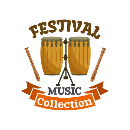tamburi musicali. Musica Festival emblema con Icona vettore di cubano, conga africano Drums, bacchette e nastro marrone