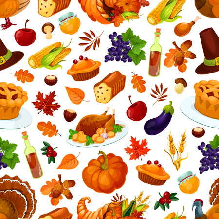 Thanksgiving day pattern of pumpkin, roasted turkey, autumn harvest, cornucopia food abundance, sweet traditional thanksgiving pie, autumn foliage of oak and maple leaves. Vector seamless pattern for thanksgiving celebration background design