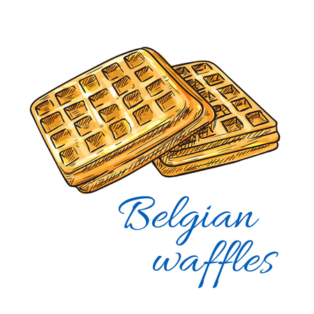 cafe shop: Belgian waffles sketch icon. Patisserie shop emblem. Vector sweet wafers. Template for cafe menu card, cafeteria signboard, bakery label