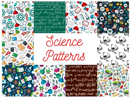 scientifical: Science seamless patterns. Vector pattern of atom, formula, microscope, telescope, dna, chemicals, substance, gene molecule globe proton magnet calculator heart syringe