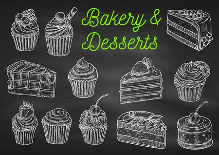 Panadería y postres tiza iconos de dibujo en la pizarra. Magdalena aislada del vector con la fresa, pastel de chocolate con arándanos, panecillo crema, tarta de frutas, galletas con la cereza