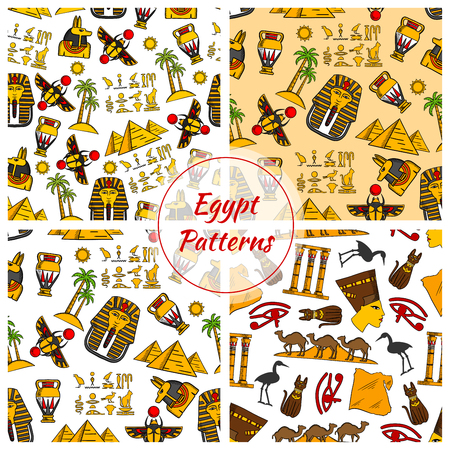 egyptian culture: Egypt. Ancient Egyptian culture seamless patterns. Vector pattern of Egypt cultural objects Pyramids, Nefertiti bust, eye of Horus, Tutankhamun pharao mask, scarab, camels in desert, sacred cat and stork, Egypt map, cuneiform, Amon Ra