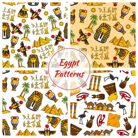 ra: Egypt. Ancient Egyptian culture seamless patterns. Vector pattern of Egypt cultural objects Pyramids, Nefertiti bust, eye of Horus, Tutankhamun pharao mask, scarab, camels in desert, sacred cat and stork, Egypt map, cuneiform, Amon Ra