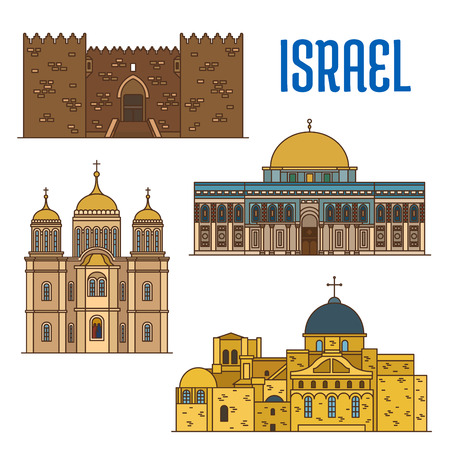 church of the holy sepulchre: Israel vector detailed architecture icons of Damascus Gate, Al-Aqsa Mosque, Monastery Ein Karem, Church of the Holy Sepulchre. Israeli showplaces symbols for print, souvenirs, postcards, t-shirts