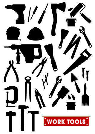 tongs: Work tools silhouette icons. Construction, carpentry and home repair vector isolated symbols hammer, electric drill, ax, ruler, saw, tongs, screwdriver, knife, paint bush, spanner helmet nippers trowel