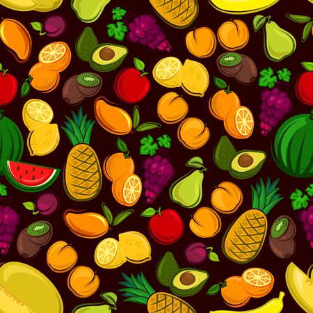 grape fruit: Fruits seamless pattern background. Vector pattern of fresh, tropical and exotic fruit watermelon, grape, pineapple, apricot, mango, avocado, pear, apple, plum, melon peach kiwi lemon orange banana Illustration