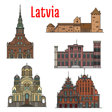 Latvia famous historic architecture. Vector detailed icons of St. Peter Church, Turaida Castle, Birini Palace, Nativity of Christ Cathedral, House of Blackheads for souvenir decoration elements