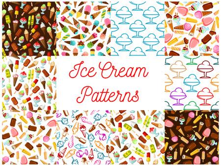 slushy: Ice cream seamless patterns. Vector pattern of dessert ice cream scoop in waffle cone, eskimo pie, slushy, frozen ice, sorbet, gelato, sundae for cafe or restaurant menu, decoration