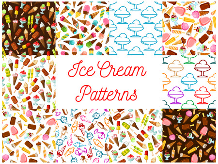 Ice cream seamless patterns. Vector pattern of dessert ice cream scoop in waffle cone, eskimo pie, slushy, frozen ice, sorbet, gelato, sundae for cafe or restaurant menu, decoration