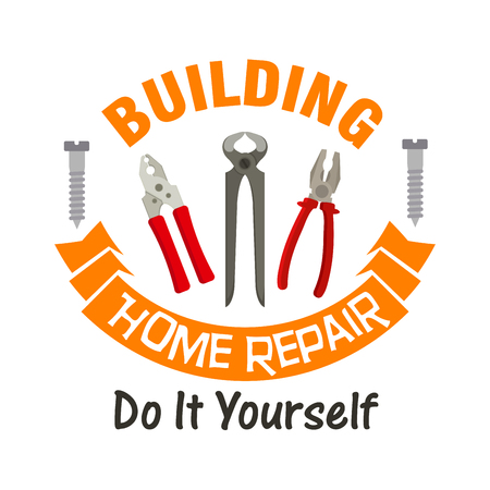 tongs: Building and home repair work tools emblem. Vector icon of nippers, pliers, tongs, metal bolt screws, orange ribbon. Template for home repair agency signboard, service label