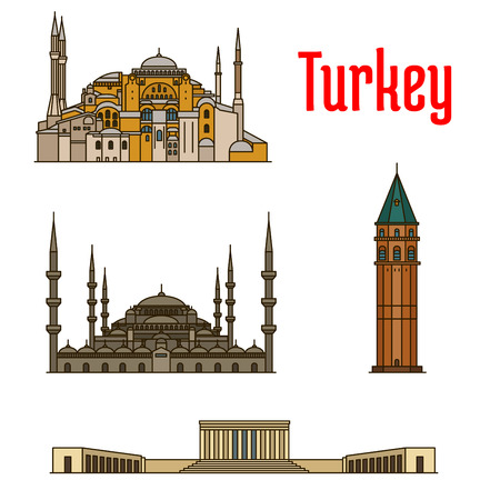 hagia sophia: Turkey historic architecture buildings. Vector detailed icons of Hagia Sophia, Galata Tower, Sultan Ahmed Mosque, Anitkabir for souvenir decoration elements