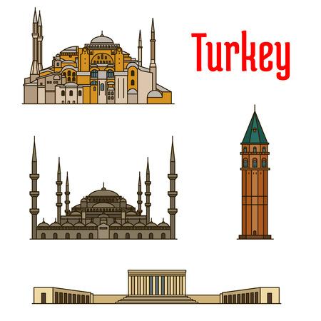 hagia sophia: Turkey historic architecture buildings. Vector detailed icons of Hagia Sophia, Galata Tower, Sultan Ahmed Mosque, Anitkabir for souvenir decoration elements