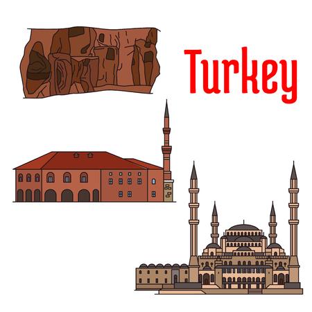 historic: Turkey historic architecture and sightseeings. Vector detailed icons of Kocatepe Mosque, Haci Bayram Camii, Kaymakli Underground City. Turkish architecture symbols for souvenirs, postcards Illustration
