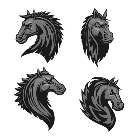 furious: Horse head emblem with thorny prickly mane. Stylized heraldic icon of furious stallion for sport club, team badge, label, tattoo