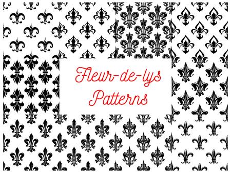 royal french lily symbols: Fleur-de-lys royal french lily seamless patterns. Vector pattern of black heraldic fleur-de-lis symbols on white background