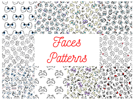 Human faces patterns. Vector pattern of cartoon emoticon faces with expressions. Cute emoji eyes smiling, happy, upset, surprised, skeptical, sad, angry, mad, stupid, crying, shocked comic silly scared classy optimistic