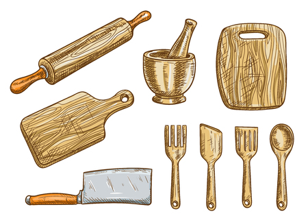 Kitchen cooking tools. Kitchenware appliances and utensils. Isolated wooden rolling pin, cutting board, hatchet, mortar with pounder, spatula, fork, ladle. Vector sketch isolated elements