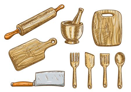 cuchillo de cocina: utensilios de cocina cocina. aparatos de cocina y utensilios. Aislado rodillo de madera, tablero, hacha, mortero de corte con triturador, espátula, tenedor, cuchara de colada. aislado bosquejo del vector de los elementos Vectores